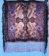ANTIQUE NEVER USED RICH JEWEL TONE TAJ MAHAL SCARF / PIANO SHAWL W FRINGE
