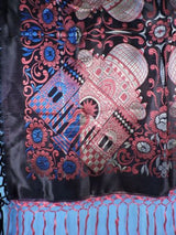 ANTIQUE NEVER USED RICH JEWEL TONE TAJ MAHAL SCARF / PIANO SHAWL W FRINGE 2