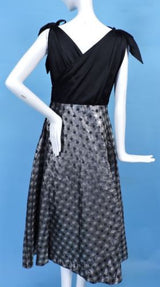 1950'S SATIN & POLKA DOT SHINING SILVER LAME PARTY DRESS W BOW SHOULDERS 6