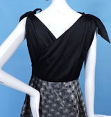 1950'S SATIN & POLKA DOT SHINING SILVER LAME PARTY DRESS W BOW SHOULDERS 7