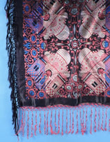 ANTIQUE NEVER USED RICH JEWEL TONE TAJ MAHAL SCARF / PIANO SHAWL W FRINGE 1