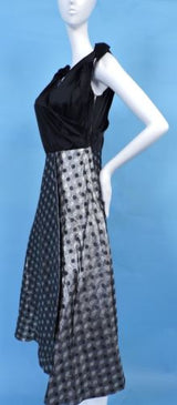 1950'S SATIN & POLKA DOT SHINING SILVER LAME PARTY DRESS W BOW SHOULDERS 4