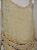 FLAPPER 1920'S GLASS BEAD FLAPPER DRESS W OMBRE RUFFLES AND BELTING 3