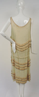 FLAPPER 1920'S GLASS BEAD FLAPPER DRESS W OMBRE RUFFLES AND BELTING 8