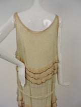 FLAPPER 1920'S GLASS BEAD FLAPPER DRESS W OMBRE RUFFLES AND BELTING 10
