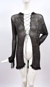 VICTORIAN 1880'S BLACK FISHNET BEADED JACKET WITH DANGLING FRINGE 1