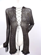 VICTORIAN 1880'S BLACK FISHNET BEADED JACKET WITH DANGLING FRINGE 2