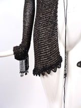 VICTORIAN 1880'S BLACK FISHNET BEADED JACKET WITH DANGLING FRINGE 3