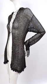 VICTORIAN 1880'S BLACK FISHNET BEADED JACKET WITH DANGLING FRINGE 4