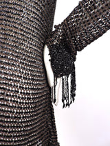 VICTORIAN 1880'S BLACK FISHNET BEADED JACKET WITH DANGLING FRINGE 5