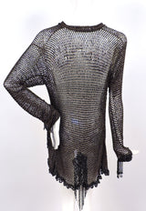 VICTORIAN 1880'S BLACK FISHNET BEADED JACKET WITH DANGLING FRINGE 7