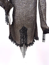 VICTORIAN 1880'S BLACK FISHNET BEADED JACKET WITH DANGLING FRINGE 33