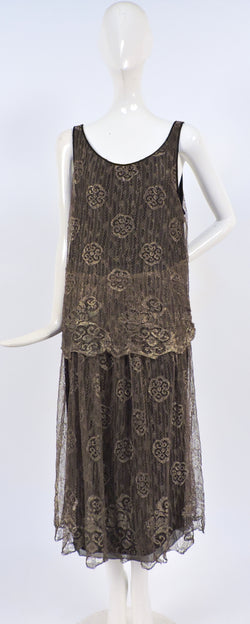 ANTIQUE 1920'S FLORAL METALLIC GOLD LAME LACE FLAPPER DRESS 1