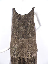 ANTIQUE 1920'S FLORAL METALLIC GOLD LAME LACE FLAPPER DRESS 2