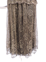 ANTIQUE 1920'S FLORAL METALLIC GOLD LAME LACE FLAPPER DRESS 3