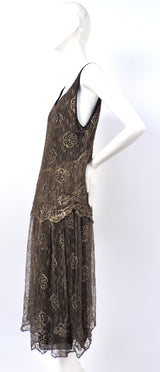 ANTIQUE 1920'S FLORAL METALLIC GOLD LAME LACE FLAPPER DRESS