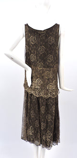 ANTIQUE 1920'S FLORAL METALLIC GOLD LAME LACE FLAPPER DRESS 4