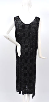 ROCK HEAVY 1920'S BLACK PATCHWORK BEADED FLAPPER 1920'S DRESS  14