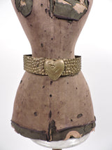 ANTIQUE FLAPPER 1920'S EMBOSSED GOLD METAL BELT WITH HEART SHAPED FRONT  3