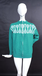 VINTAGE EARLY 1960'S GREEN TENNIS RACKET AND BALL PATTERN ACRYLIC SWEATER  1