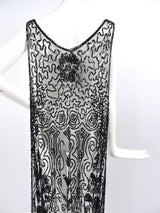 FLAPPER 1920'S BLACK SEQUIN AND NET TABBARD OVERDRESS