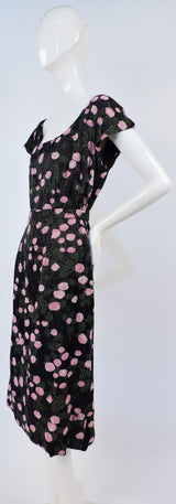 1950'S DENSE BEADED FLORAL SILK COCKTAIL DRESS WITH MATCHING BELT 3
