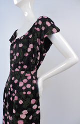 1950'S DENSE BEADED FLORAL SILK COCKTAIL DRESS WITH MATCHING BELT 4