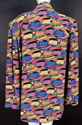 VINTAGE 1980'S SILK JACKET WITH COLORFUL FEDORA PRINT 3