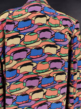 VINTAGE 1980'S SILK JACKET WITH COLORFUL FEDORA PRINT 4