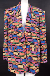 VINTAGE 1980'S SILK JACKET WITH COLORFUL FEDORA PRINT 1