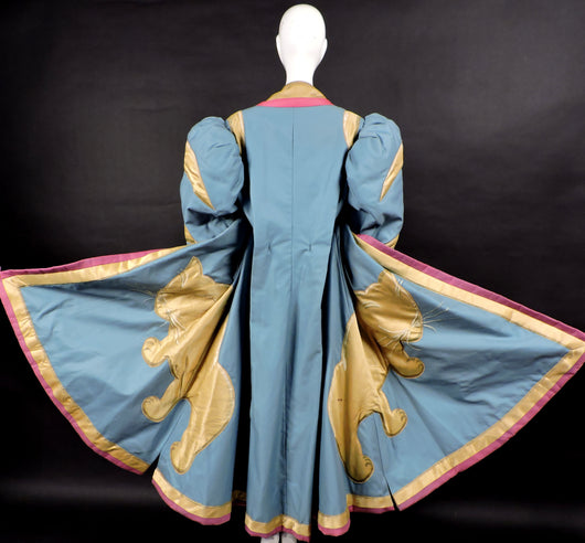 DRAMATIC THEATRICAL COSTUME COAT WITH PUFF SLEEVES AND LARGE SATIN CAT 1