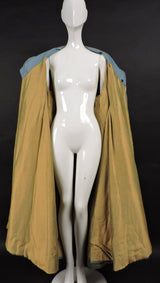 DRAMATIC THEATRICAL COSTUME COAT WITH PUFF SLEEVES AND LARGE SATIN CAT 111
