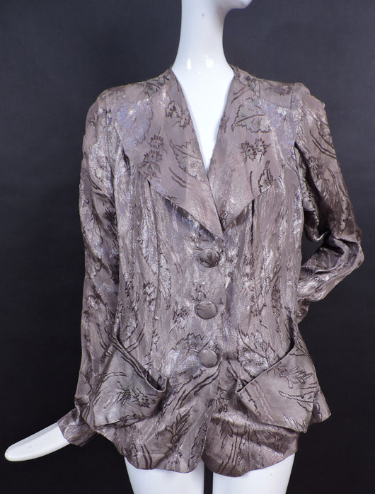 SHINING 1930'S METALLIC BROCADE FLORAL LAME JACKET