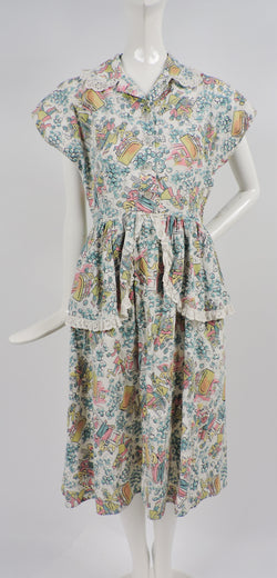 GREAT 1950'S DINER NOVELTY PRINT COTTON DRESS WITH EYELET RUFFLES 1