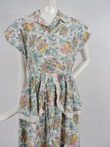 GREAT 1950'S DINER NOVELTY PRINT COTTON DRESS WITH EYELET RUFFLES 2