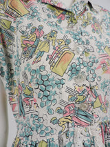 GREAT 1950'S DINER NOVELTY PRINT COTTON DRESS WITH EYELET RUFFLES 3