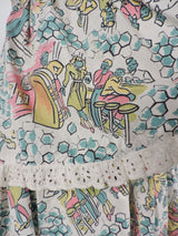 GREAT 1950'S DINER NOVELTY PRINT COTTON DRESS WITH EYELET RUFFLES 4