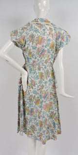GREAT 1950'S DINER NOVELTY PRINT COTTON DRESS WITH EYELET RUFFLES 6
