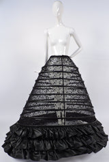 GOTHIC CUSTOM MADE HUGE SHEER BLACK HOOP CAGE SKIRT WITH SEQUINS EMBROIDERY AND FAUX LEATHER 3