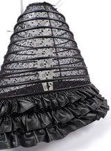 GOTHIC CUSTOM MADE HUGE SHEER BLACK HOOP CAGE SKIRT WITH SEQUINS EMBROIDERY AND FAUX LEATHER  4