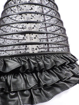 GOTHIC CUSTOM MADE HUGE SHEER BLACK HOOP CAGE SKIRT WITH SEQUINS EMBROIDERY AND FAUX LEATHER  5