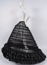 GOTHIC CUSTOM MADE HUGE SHEER BLACK HOOP CAGE SKIRT WITH SEQUINS EMBROIDERY AND FAUX LEATHER 1