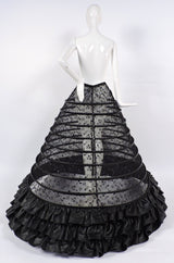GOTHIC CUSTOM MADE HUGE SHEER BLACK HOOP CAGE SKIRT WITH SEQUINS EMBROIDERY AND FAUX LEATHER  7