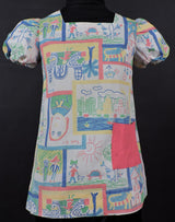 1970'S GIRL'S DRESS IN CRAYON DRAWING PRINT
