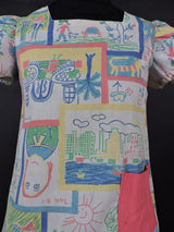 1970'S GIRL'S DRESS IN CRAYON DRAWING PRINT 2