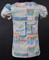 1970'S GIRL'S DRESS IN CRAYON DRAWING PRINT 4