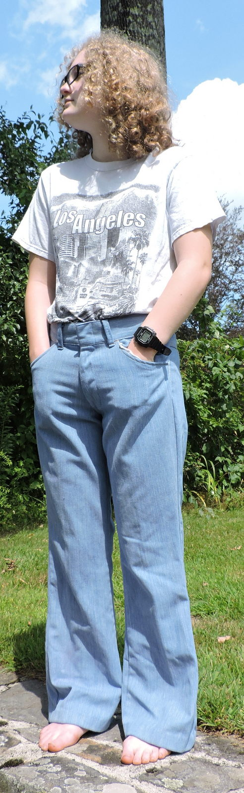 VINTAGE 1970'S LIGHT BLUE DENIM MEN'S PANTS W ANGLED REAR POCKETS SIZE INCH WAIST 1
