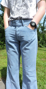 VINTAGE 1970'S LIGHT BLUE DENIM MEN'S PANTS W ANGLED REAR POCKETS SIZE INCH WAIST 2