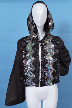 1970'S DISCO ERA FLARED SLEEVE JACKET WITH SEQUIN TRIMS AND HOOD