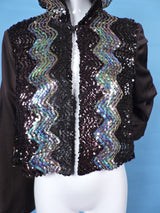 1970'S DISCO ERA FLARED SLEEVE JACKET WITH SEQUIN TRIMS AND HOOD 1